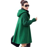 A-Line 4 Colours Coat Hooded Collar Long Sleeve Ladies Overcoat Single-Breasted Slim Fall Winter Women Wool Coat Plus Size XH397