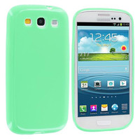 Mint Green Solid TPU Rubber Skin Case Cover for Samsung Galaxy S3