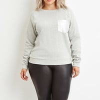Plus Size Metallic Knit Sweatshirt