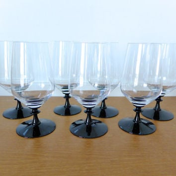 Fostoria crystal and black Eloquence Onyx iced tea glasses, set of seven