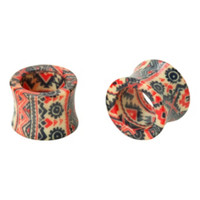Acrylic Native Print Eyelet Plug 2 Pack