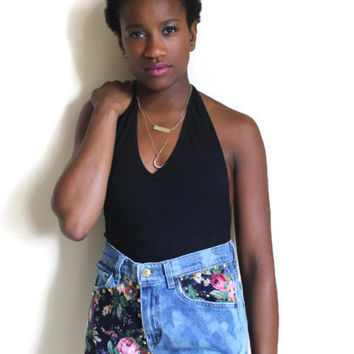 Vintage Upcycled High Jean Shorts Vintage Floral Fabric Gold Studs 80s 0090s Bleached Small Medium #19