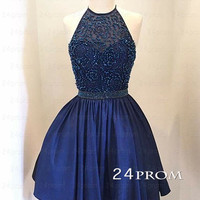 Beaded Round Neck Short Dark Blue Prom Dresses, Homecoming Dresses