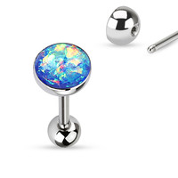 Tongue Ring Opal Sparkle Blue 14ga Surgical Steel Body Jewelry
