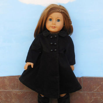 18 Inch Doll Clothes, Black Doll Coat, Corduroy Doll Coat, Winter Doll Clothes, Fits American Girl Dolls