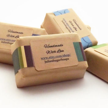 BULK 100 Guest Size Soaps for Wedding Favors, Baby Showers, or Bridal Showers; Natural Glycerin Soap, Personalized Custom Labels