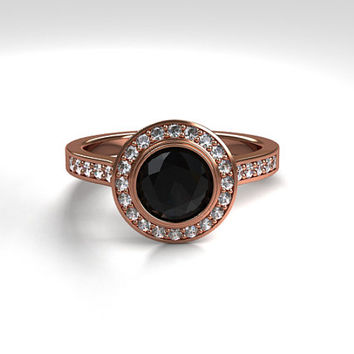 Black spinel halo engagement ring, rose gold, white gold, yellow gold ring, bezel engagement ring, black halo, solitaire, unique, diamond