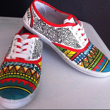 Hand painted shoes, Aztec tribal spiritual