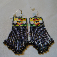Native Amrican Style square stitched Little Two Feather earrings