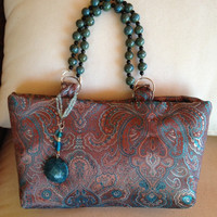 Turquoise and light brown Paisley Print Small Tote Handmade Tote Small Handbag Handmade Turquoise Tote
