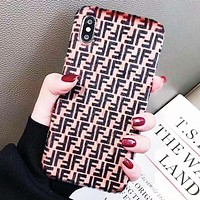 Fendi Tide brand couple plush double F letter iPhone XS mobile phone case cover pink