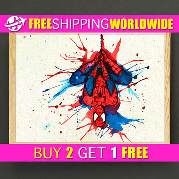 Spider Man Watercolor Art Print Avengers Poster House Wear Wall Art Decor Gift Linen Fabric Print - FREE SHIPPING - 217s2g