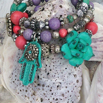 Hamsa Wrap Bracelet PROTECTION BRACELET Yoga Jewelry Flower bracelet