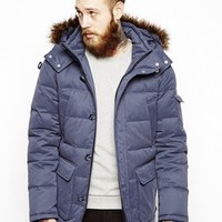 ASOS Parka With Down Fill And Faux Fur Trim - Blue