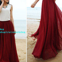 High quality chiffon long skirts, Bohemia Beach dress, women summer dresses, bride maid dress, long skirt, maxi skirt, 12 color handmade