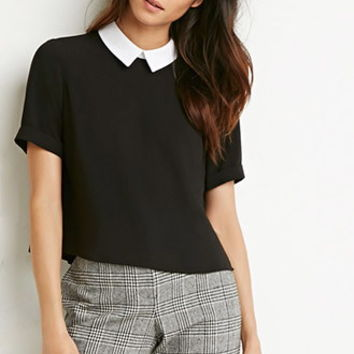 Contrast-Collar Boxy Top