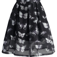 Butterfly Dance Mesh Pleated Skirt Black