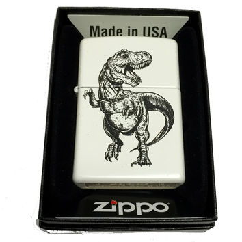 Zippo Custom Lighter - Tyrannosaurus TREX T-REX Illustrated Dinosaur - Regular White Matte 214CI401844