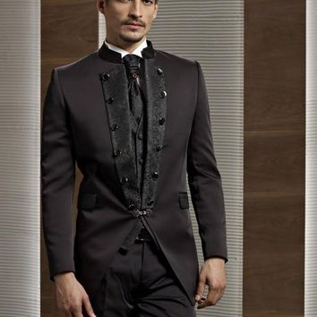 2017 Special Embroidered Stand Collar Men Suits Groomsman Suits For Wedding Men's Formal Prom Tuxedos (Jacket+Pants+Vest+Tie)