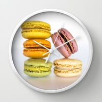 Colorful Macarons Wall Clock by Maureen Bates Photography