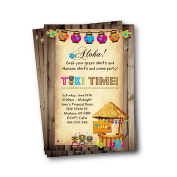 Luau Invitation tiki adult party hawaiin party tiki time tiki invite backyard bbq printable hula party invitation luau party luau birthday