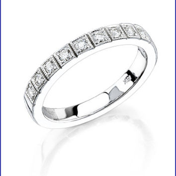 Gregorio 18K White Gold Diamond Wedding Band R-255