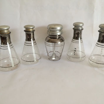 Mid Century Glass Condiment Set