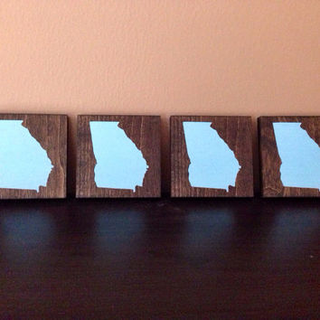 Georgia Wood Coasters, Custom Georgia Coasters, Set of 4, Stained and Hand Painted, Georgia decor