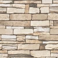 Natural Stacked Stone Brick Vinyl Self Adhesive Peel-Stick Wallpaper no-H608