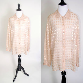 Vintage 1990s Cream SHEER Burn Out long sleeve Over Size oversized XL Blouse Button Down