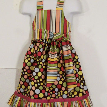 Girls Stripes and Dots Ruffled Full Apron