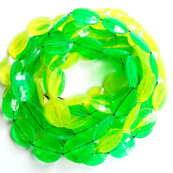 Vintage Green Yellow Beaded Necklace Multi Strand Fixed Bead Long Lemon Lime Faceted Plastic Acrylic 4 Strand Neon Colors