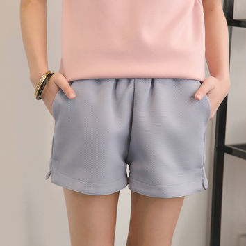 High Quality Fashion Shorts Women Solid Elastic Waist Loose Shorts High Waist Bud Shorts Lady Summer Bottoms Pink Blue Black