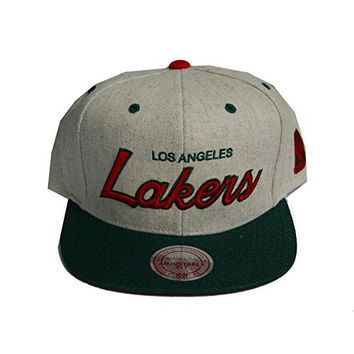 Mitchell & Ness Los Angeles Lakers Brushed Script Christmas Snapback Hat