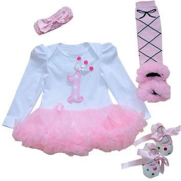 4PCs per Set Baby Girl Crown Tutu Dress Infant 1st Birthday Party Outfit Leg Warmers S