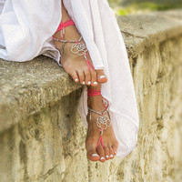 Pink beaded barefoot sandals Beach wedding bottomless sandals Boho footless sandles Bare foot jewelry Bohemian soleless sandal Yoga anklet