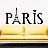 Eiffel Tower Wall Decal Vinyl Stickers Decals Art Home Decor Mural Vinyl Lettering Wall Decal Paris Silhouette France Bedroom Dorm ZX91