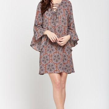 Spice Road Lace-Up Printed Tunic