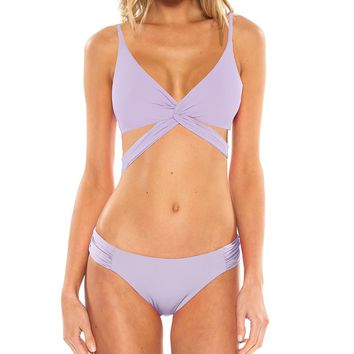 Becca by Rebecca Virtue Color Code Plunge Twist Wrap Halter Top And Shirred Tab Side Bottom | Dillard's