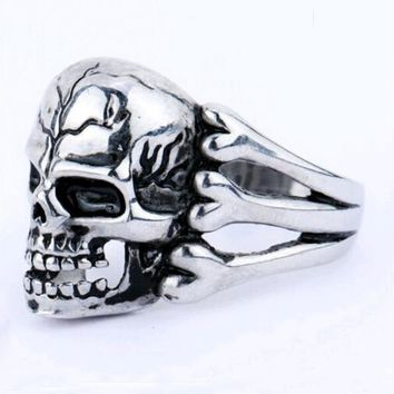 FAMSHIN 2016 Man's Ring Gothic Men's Skull Flower Biker Zinc alloy Ring Man fashion rings Free