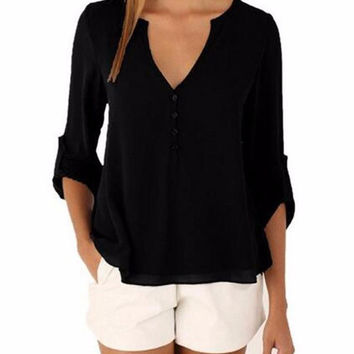 Ladies Black 3/4 Sleeve V-Neck Button Up Casual Chiffon Blouse Button Back Accent