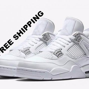 "[FREE SHIPPING] AIR JORDAN 4 (WHITE / SILVER ""PURE MONEY"") BASKETBALL SNEAKER 308497 100"