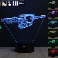 Star Trek 3D Night Light RGB Changeable Mood Lamp LED Light DC 5V USB Decorative Table Lamp Get a free remote control