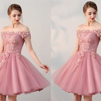 Pink Off Shoulder Short Sleeve Homecoming Dresses