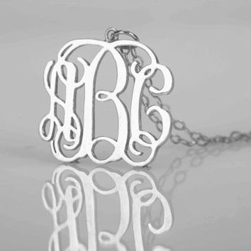 "3x initials 925 Sterling Silver  Monogram Necklace-1""inch Initial Necklace Silver monogram necklace,interlocking Handmade Mother's Day Gifts"