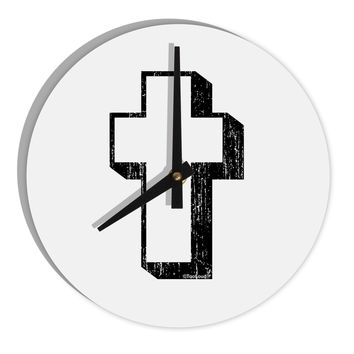 """Simple Cross Design Black Distressed 8"""" Round Wall Clock  by TooLoud"""