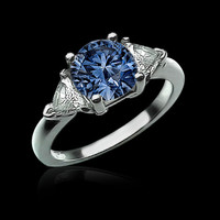 1.41 carat blue diamond anniversary ring trillion diamonds