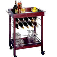 10-Bottle Wine Cart With Wheels Counter-Top Kitchen Furniture Espresso Finish