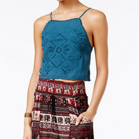 American Rag Eyelet Strappy-Back Crop Top, Only at Macy's | macys.com