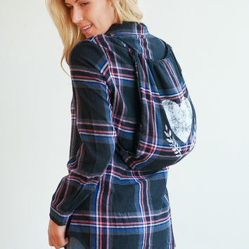 Leslie Plaid Tunic Button Up Shirt - With Bag!